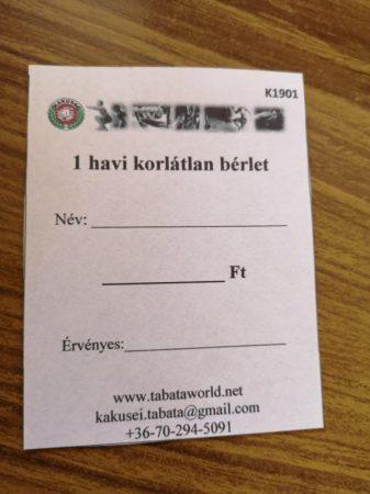 KAKUSEI Tabata/HIIT - korlátlan (1 havi) bérlet
